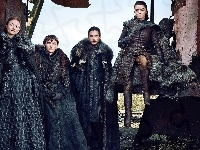 Isaac Hempstead-Wright - Bran Stark, Gra o Tron, Maisie Williams - Arya Stark, Film, Sophie Turner - Sansa Stark, Kit Harington - Jon Snow