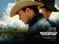 Heath Ledger, chmury, Brokeback Mountain, Jake Gyllenhaal, góry