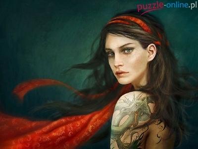 Puzzle Tatuaż Kobieta Szal