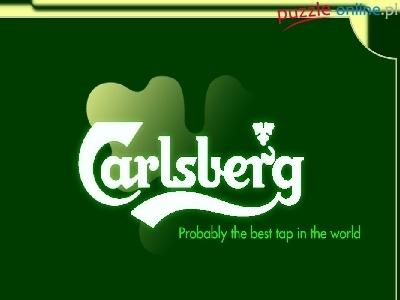 Puzzle Logo, Tło, Piwo, Calsberg, Zielone