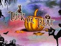 Dynia, Napis, Grafika, Halloween, Trick or Treat, Kot
