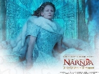 siedzi, brzydka, The Chronicles Of Narnia, Tilda Swinton, futro