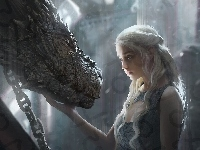 Game of Thrones, Smok, Serial, Gra o Tron, Emilia Clarke - Daenerys Targaryen
