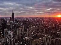 Miasta, Chicago, Panorama, Świt