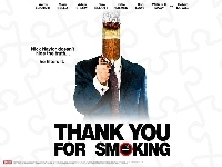 garnitur, plakat, Aaron Eckhart, Thank You For Smoking, papieros, zapalniczka